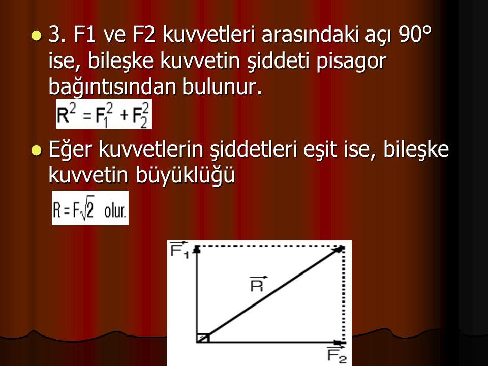 3. F1 ve F2 kuvvetleri arasındaki açı 90° ise, bileşke kuvvetin şiddeti pisagor bağıntısından bulunur.