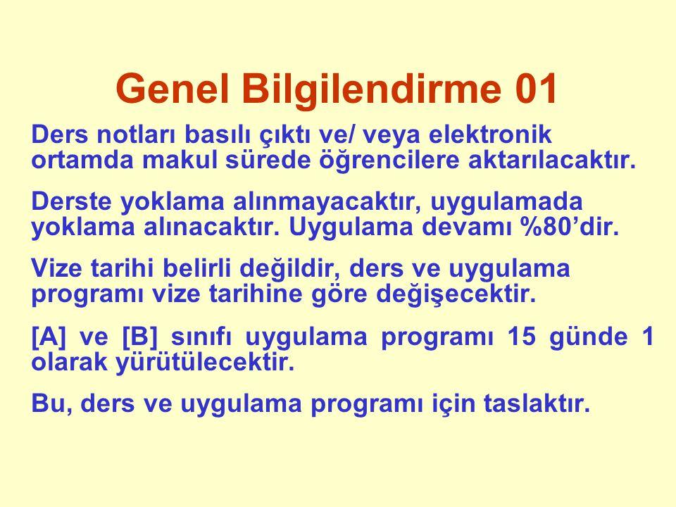 Genel Bilgilendirme 01 Ders notları basılı çıktı ve/ veya elektronik ortamda makul sürede öğrencilere aktarılacaktır.