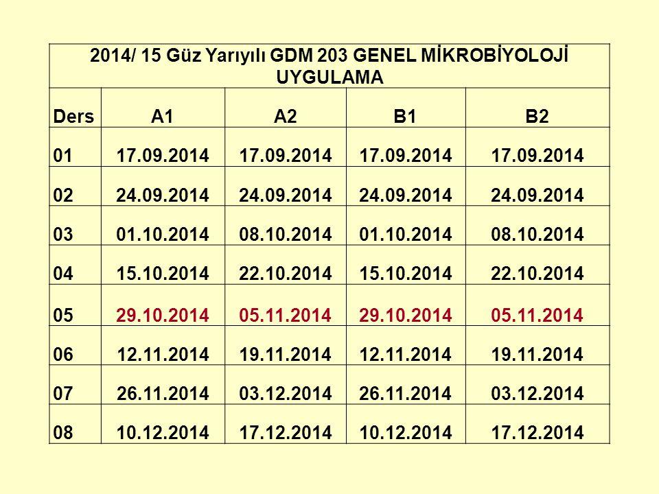 2014/ 15 Güz Yarıyılı GDM 203 GENEL MİKROBİYOLOJİ UYGULAMA