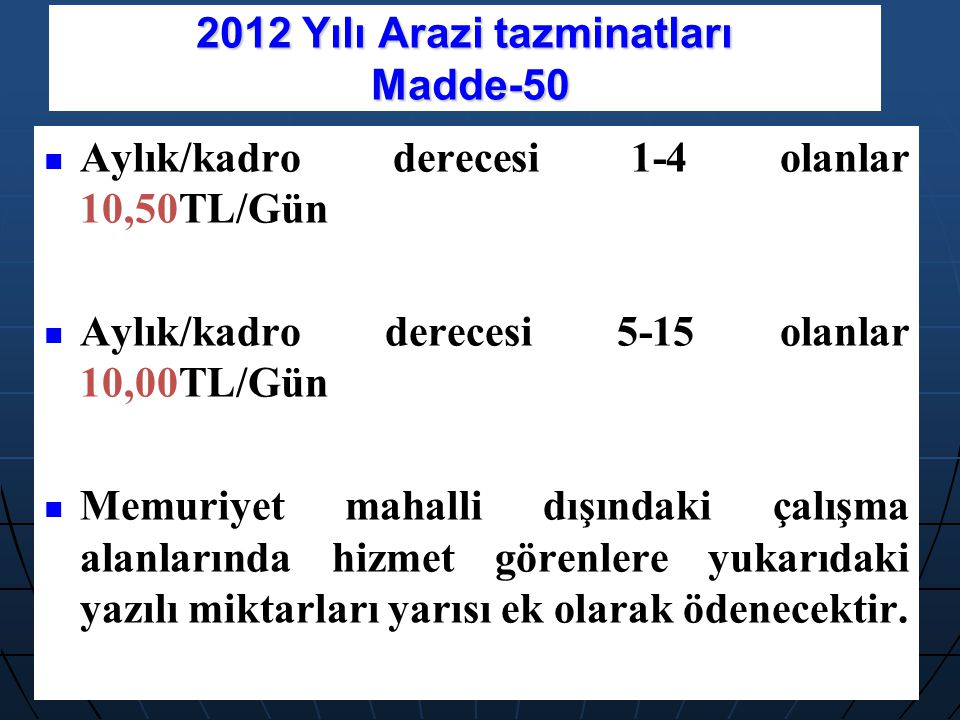 2012 Yılı Arazi tazminatları Madde-50