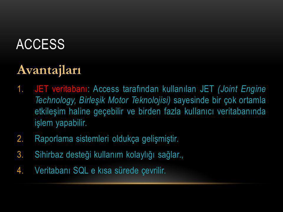 Access Avantajları.
