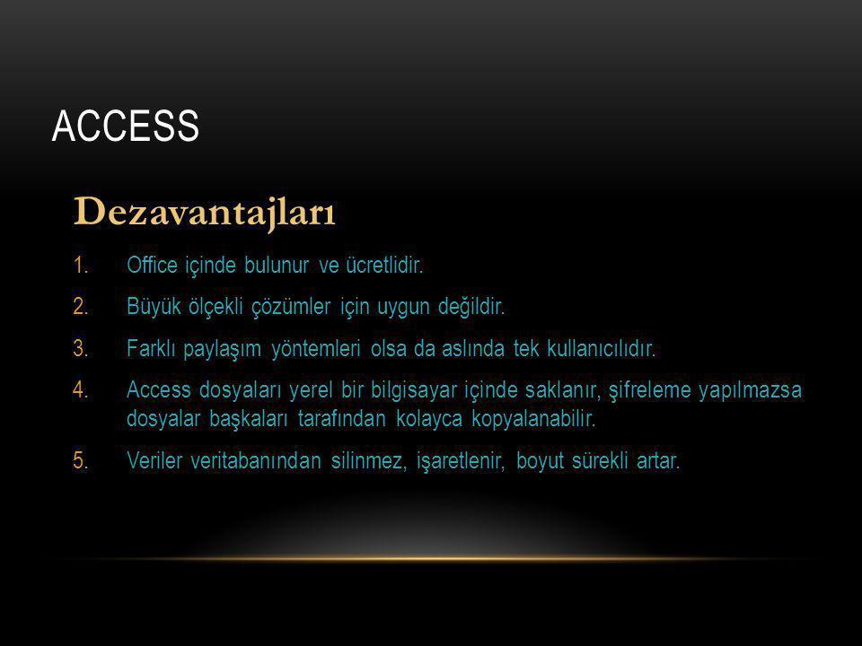 Access Dezavantajları Office içinde bulunur ve ücretlidir.