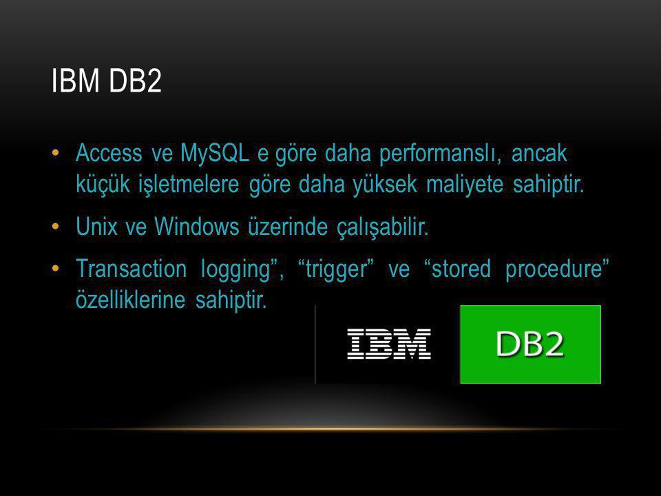IBM DB2 Access ve MySQL e göre daha performanslı, ancak küçük işletmelere göre daha yüksek maliyete sahiptir.