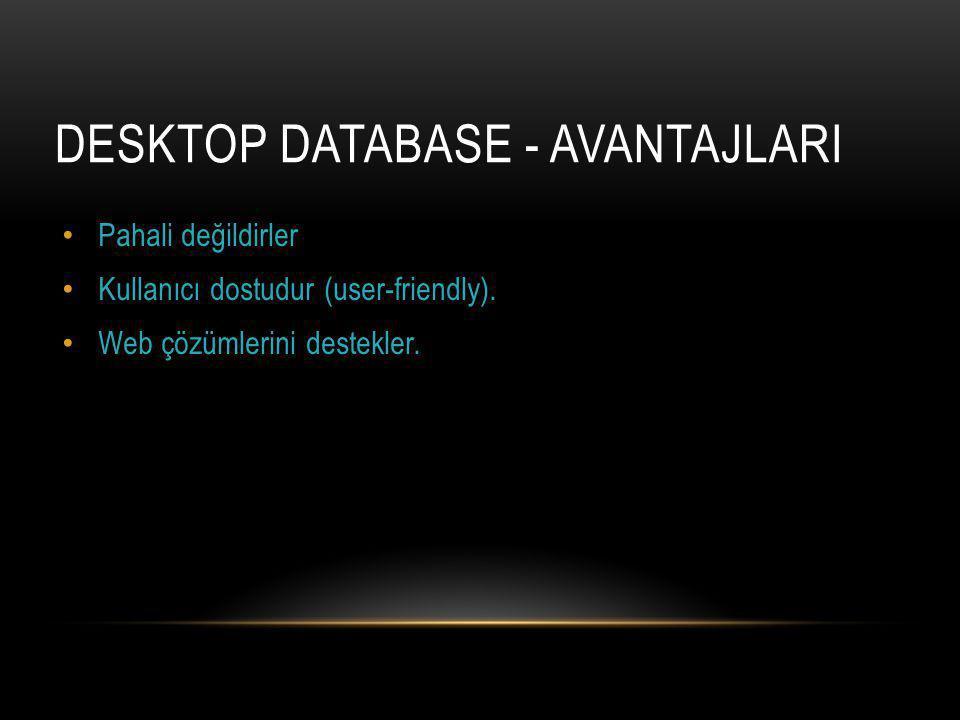 Desktop Database - AvantajlarI