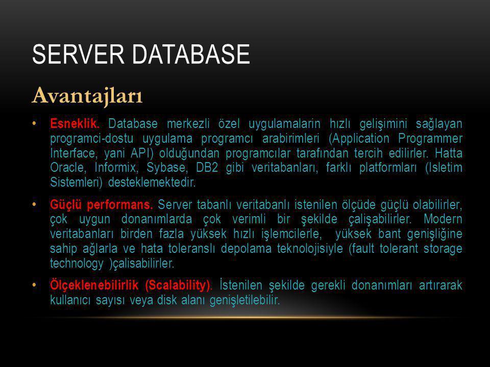 Server Database Avantajları