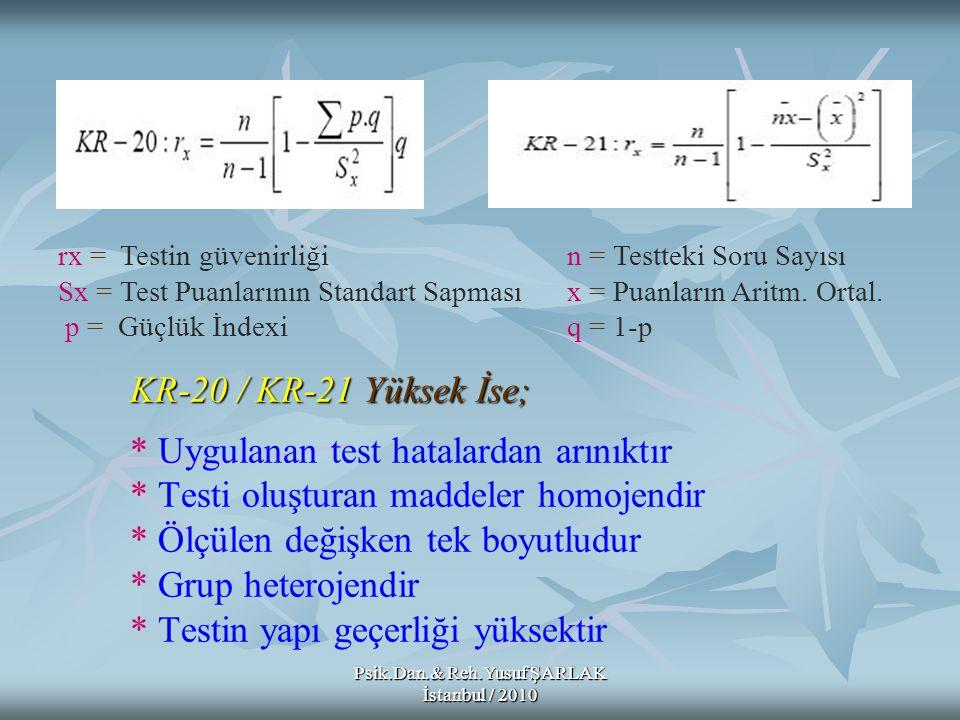 rx = Testin güvenirliği n = Testteki Soru Sayısı