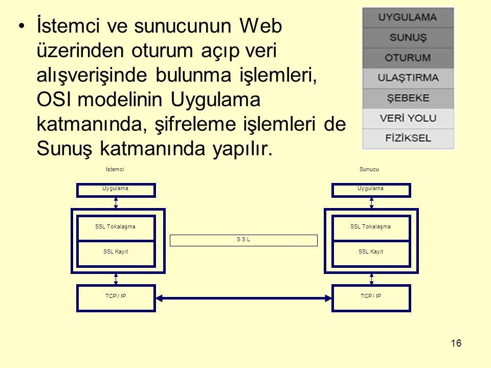 İstemci ve sunucunun Web üzerinden oturum açıp veri alışverişinde bulunma işlemleri, OSI modelinin Uygulama katmanında, şifreleme işlemleri de Sunuş katmanında yapılır.