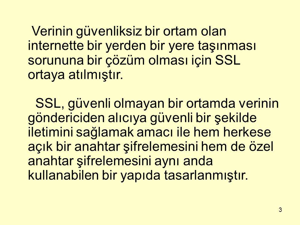 Verinin güvenliksiz bir ortam olan internette bir yerden bir yere taşınması sorununa bir çözüm olması için SSL ortaya atılmıştır.
