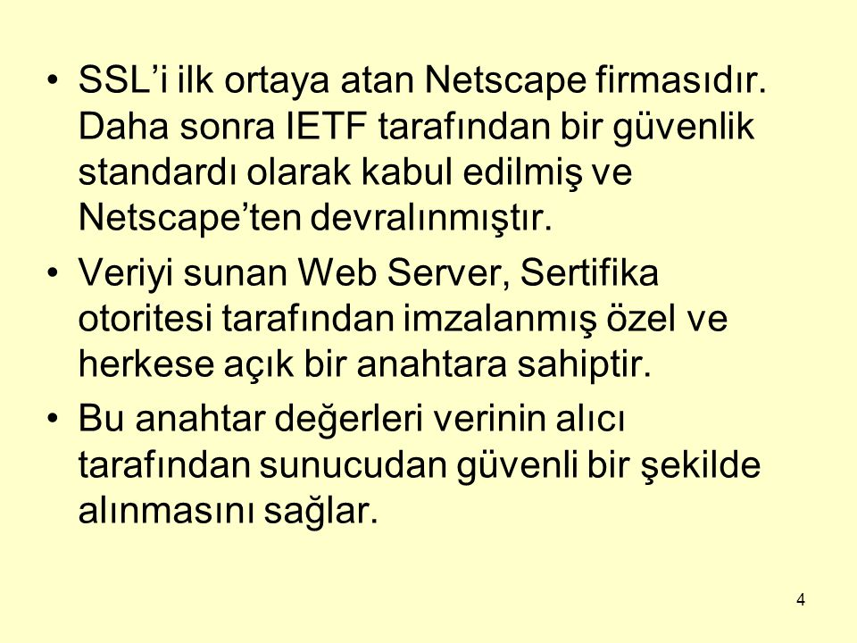 SSL'i ilk ortaya atan Netscape firmasıdır