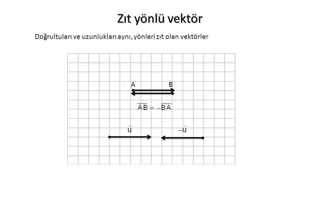 Zıt yönlü vektör Doğrultuları ve uzunlukları aynı, yönleri zıt olan vektörler A B