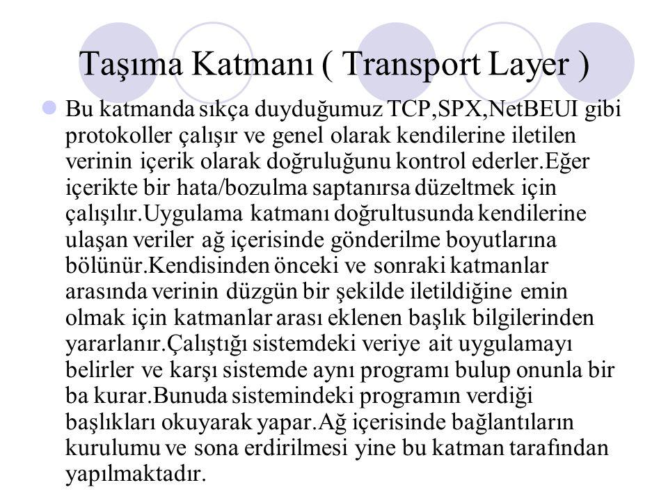 Taşıma Katmanı ( Transport Layer )