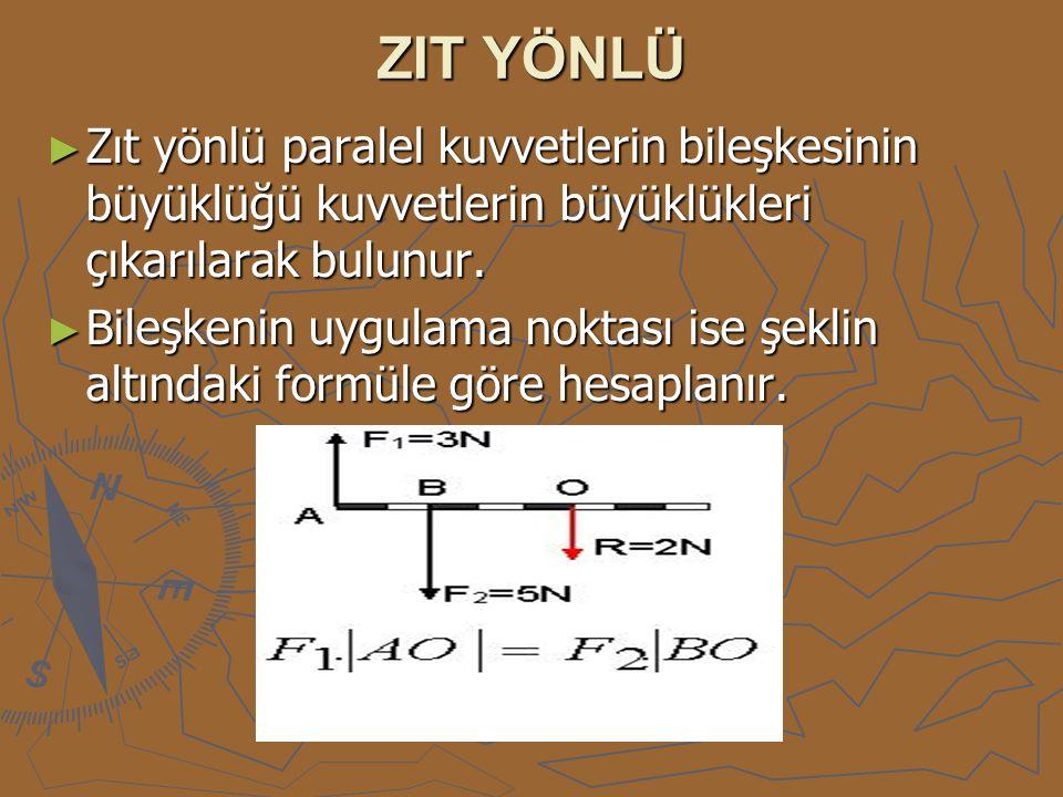 ZIT YÖNLÜ Zıt yönlü paralel kuvvetlerin bileşkesinin büyüklüğü kuvvetlerin büyüklükleri çıkarılarak bulunur.