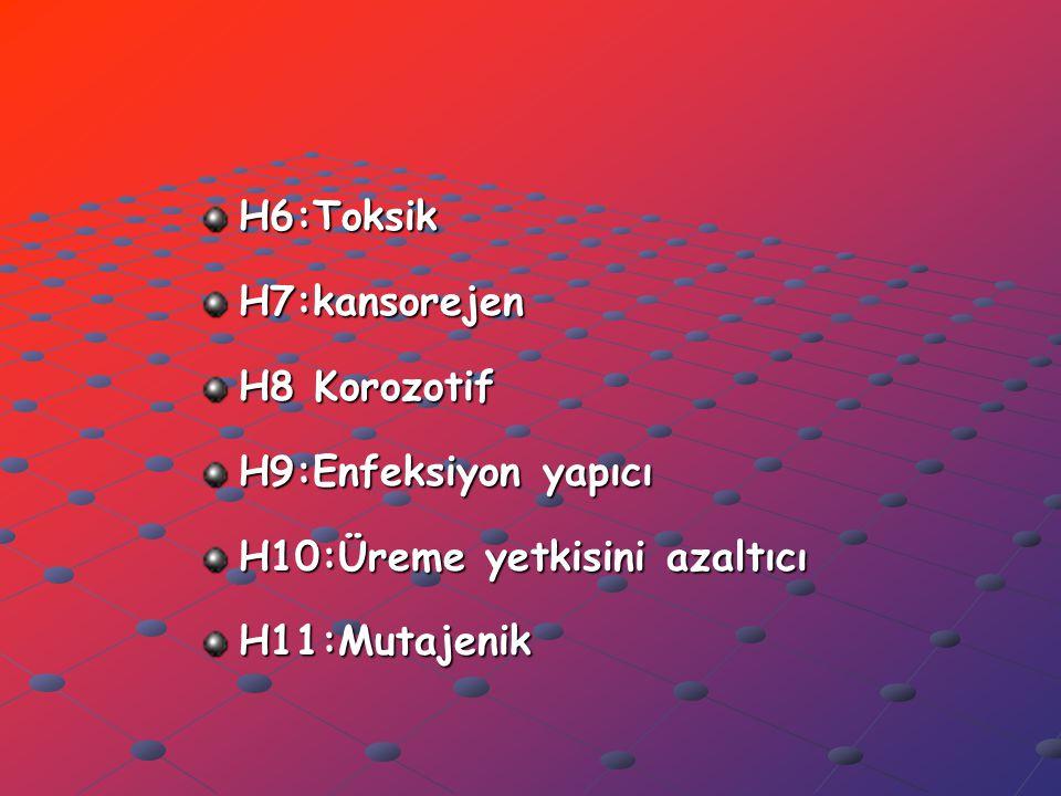 H6:Toksik H7:kansorejen. H8 Korozotif. H9:Enfeksiyon yapıcı.