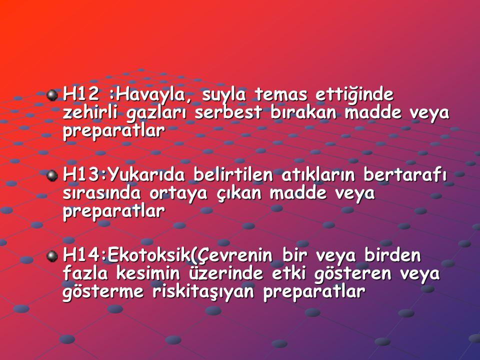 H12 :Havayla, suyla temas ettiğinde zehirli gazları serbest bırakan madde veya preparatlar