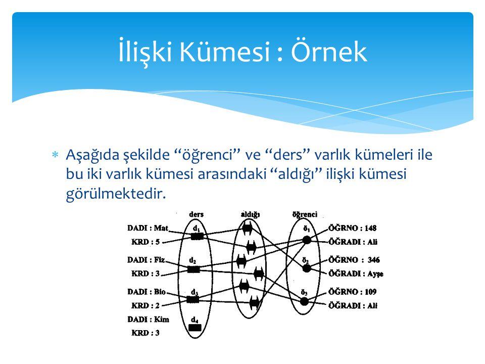 İlişki Kümesi : Örnek Aşağıda şekilde öğrenci ve ders varlık kümeleri ile bu iki varlık kümesi arasındaki aldığı ilişki kümesi görülmektedir.