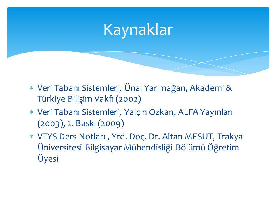 Kaynaklar Veri Tabanı Sistemleri, Ünal Yarımağan, Akademi & Türkiye Bilişim Vakfı (2002)