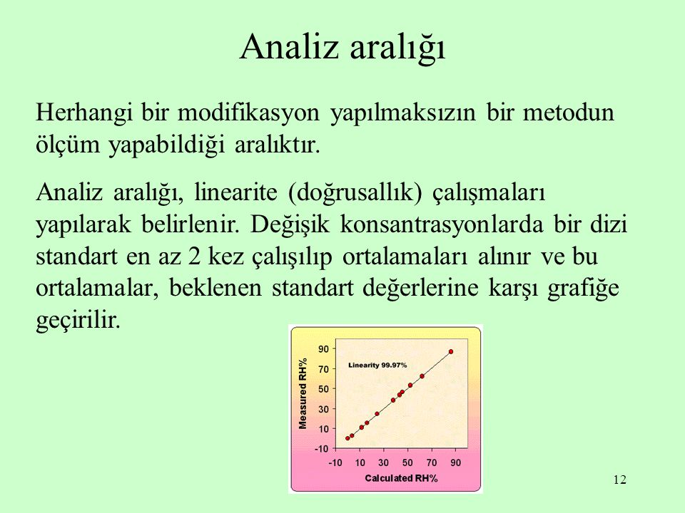 Analiz aralığı Herhangi bir modifikasyon yapılmaksızın bir metodun ölçüm yapabildiği aralıktır.