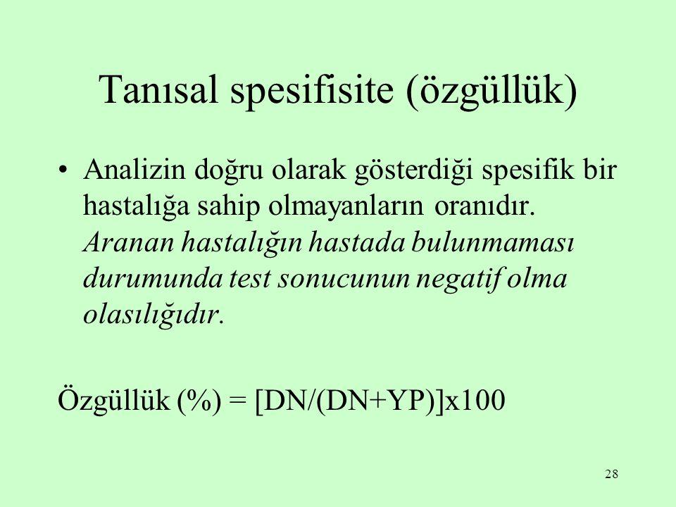 Tanısal spesifisite (özgüllük)