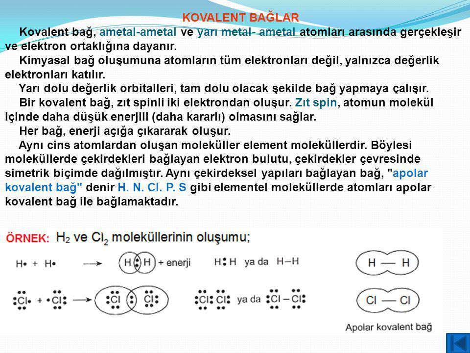 KOVALENT BAĞLAR Kovalent bağ, ametal-ametal ve yarı metal- ametal atomları arasında gerçekleşir ve elektron ortaklığına dayanır.