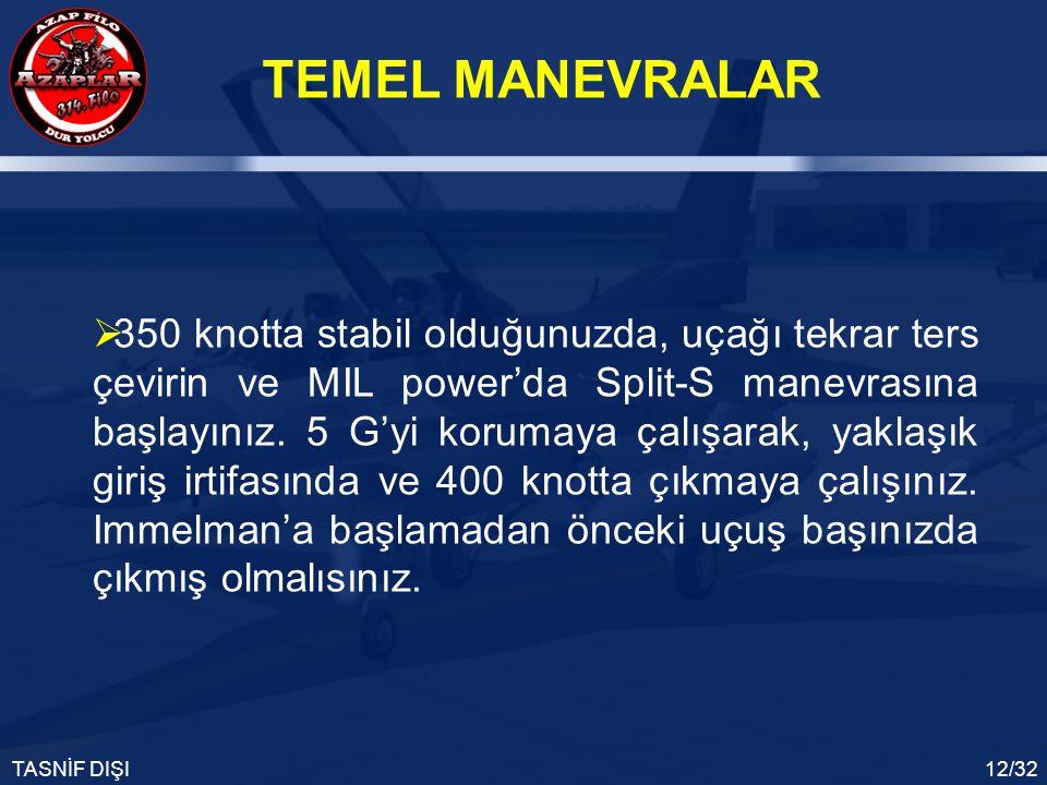 350 knotta stabil olduğunuzda, uçağı tekrar ters çevirin ve MIL power'da Split-S manevrasına başlayınız.
