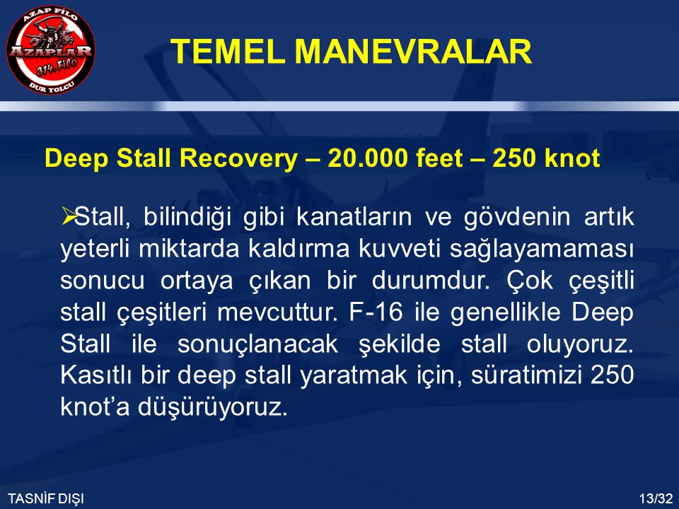 Deep Stall Recovery – 20.000 feet – 250 knot