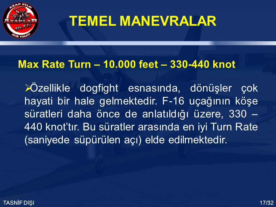 Max Rate Turn – 10.000 feet – 330-440 knot