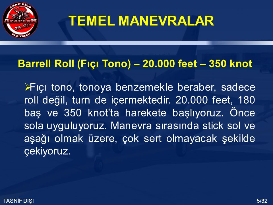 Barrell Roll (Fıçı Tono) – 20.000 feet – 350 knot