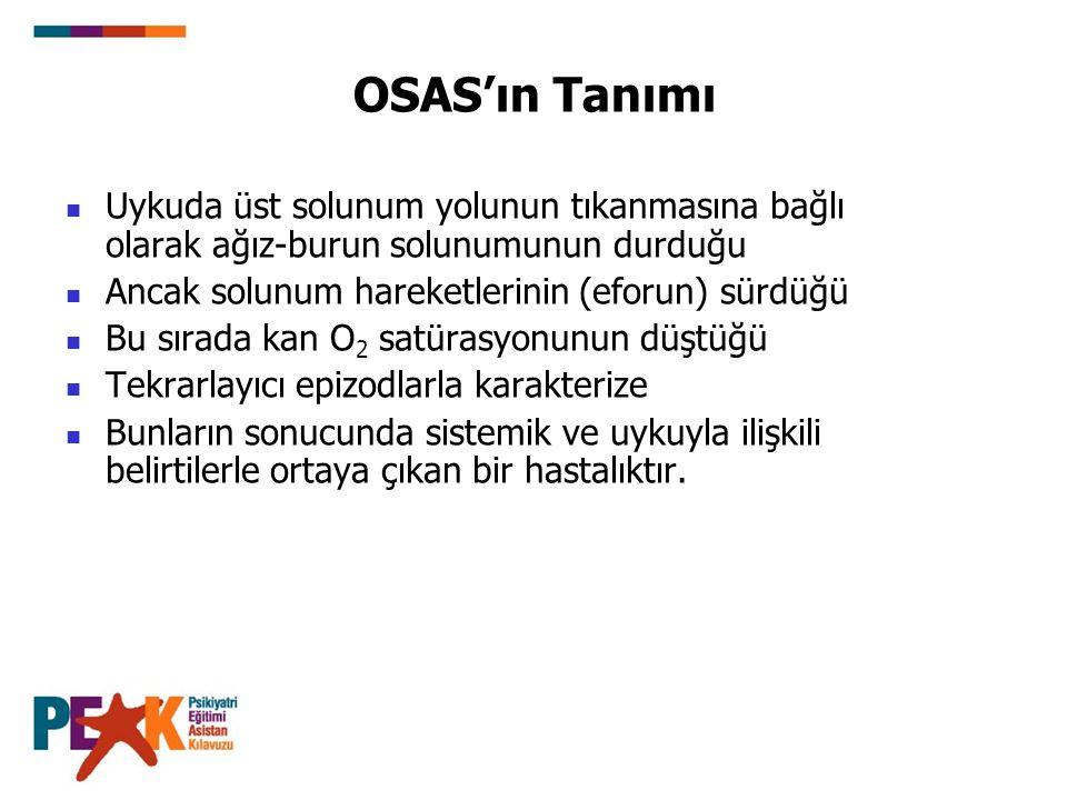 OSAS'ın Tanımı Uykuda üst solunum yolunun tıkanmasına bağlı olarak ağız-burun solunumunun durduğu. Ancak solunum hareketlerinin (eforun) sürdüğü.
