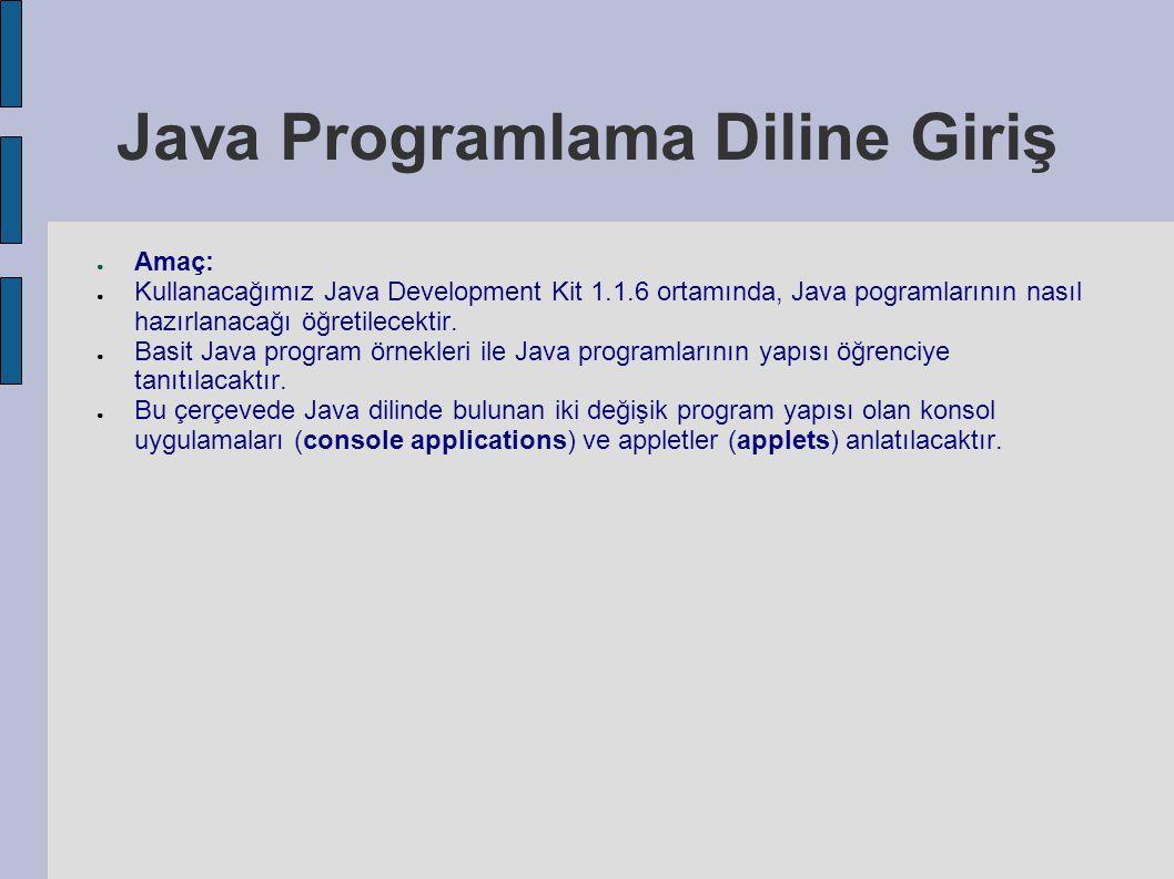 Java Programlama Diline Giriş