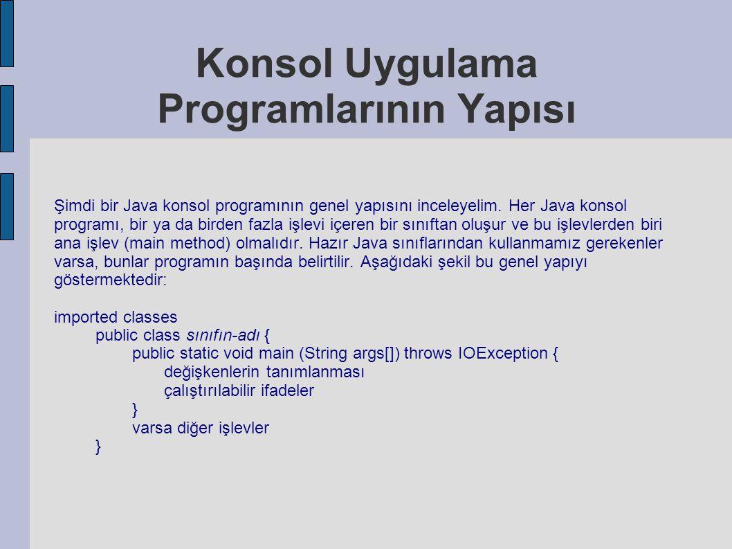 Konsol Uygulama Programlarının Yapısı