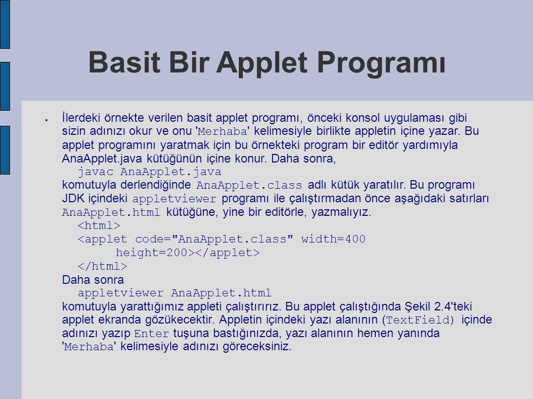 Basit Bir Applet Programı