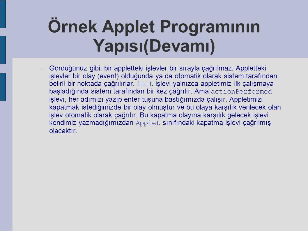 Örnek Applet Programının Yapısı(Devamı)