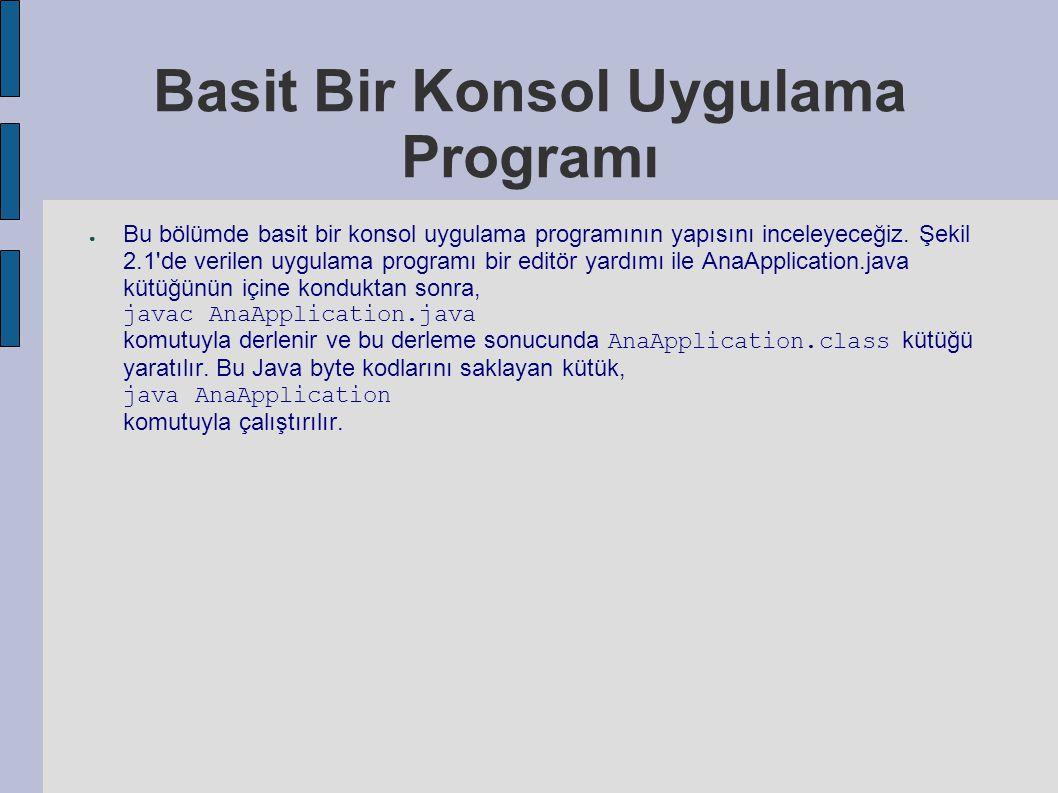 Basit Bir Konsol Uygulama Programı