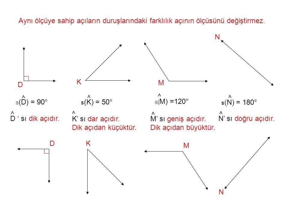 Aynı ölçüye sahip açıların duruşlarındaki farklılık açının ölçüsünü değiştirmez.