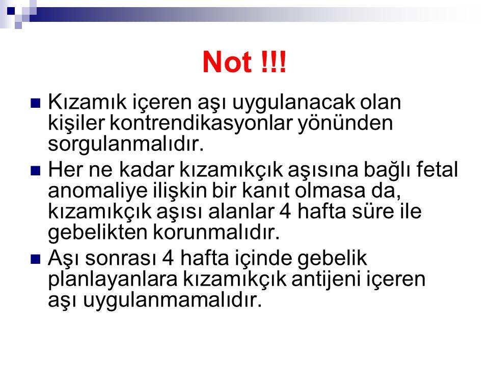 Not !!! Kızamık içeren aşı uygulanacak olan kişiler kontrendikasyonlar yönünden sorgulanmalıdır.