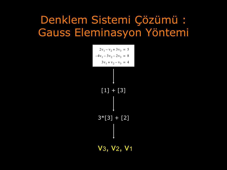 Denklem Sistemi Çözümü : Gauss Eleminasyon Yöntemi