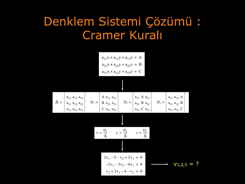Denklem Sistemi Çözümü : Cramer Kuralı