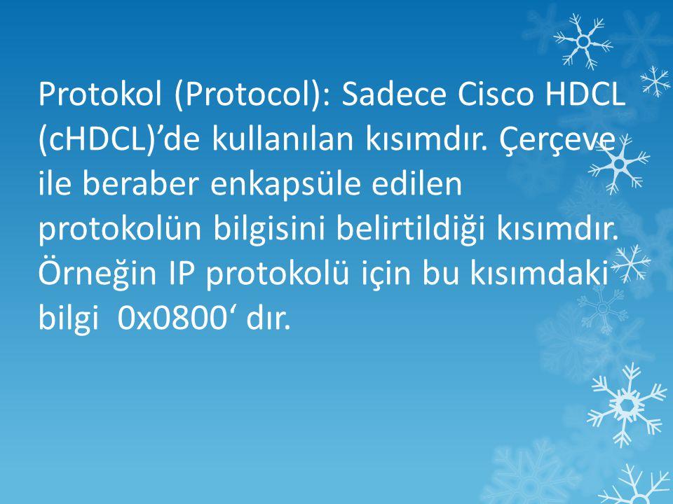 Protokol (Protocol): Sadece Cisco HDCL (cHDCL)'de kullanılan kısımdır