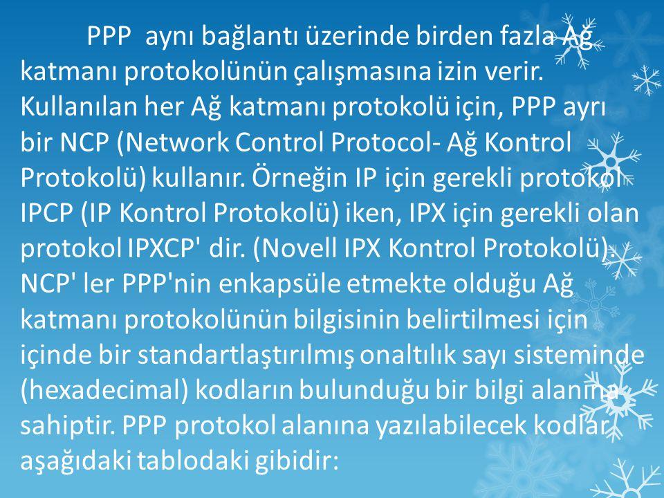 PPP aynı bağlantı üzerinde birden fazla Ağ katmanı protokolünün çalışmasına izin verir. Kullanılan her Ağ katmanı protokolü için, PPP ayrı bir NCP (Network Control Protocol- Ağ Kontrol Protokolü) kullanır. Örneğin IP için gerekli protokol IPCP (IP Kontrol Protokolü) iken, IPX için gerekli olan protokol IPXCP dir. (Novell IPX Kontrol Protokolü).