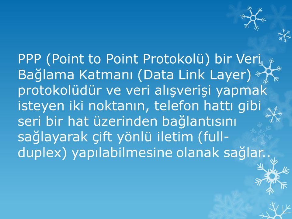 PPP (Point to Point Protokolü) bir Veri Bağlama Katmanı (Data Link Layer) protokolüdür ve veri alışverişi yapmak isteyen iki noktanın, telefon hattı gibi seri bir hat üzerinden bağlantısını sağlayarak çift yönlü iletim (full-duplex) yapılabilmesine olanak sağlar..