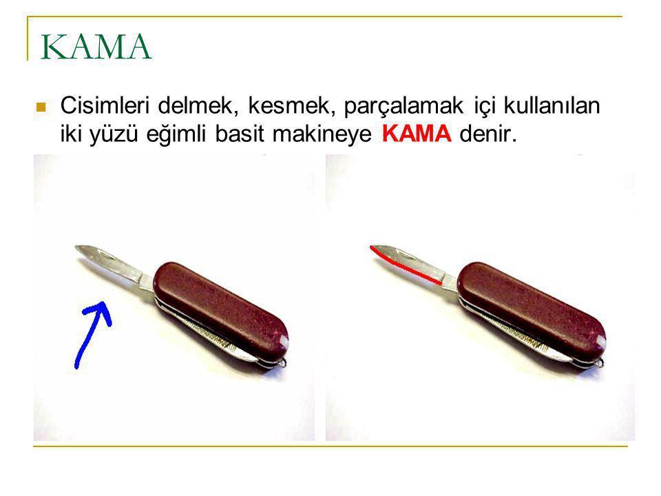 KAMA Cisimleri delmek, kesmek, parçalamak içi kullanılan iki yüzü eğimli basit makineye KAMA denir.