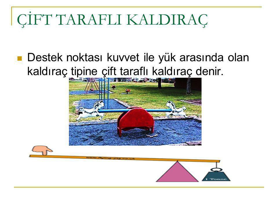 ÇİFT TARAFLI KALDIRAÇ Destek noktası kuvvet ile yük arasında olan kaldıraç tipine çift taraflı kaldıraç denir.