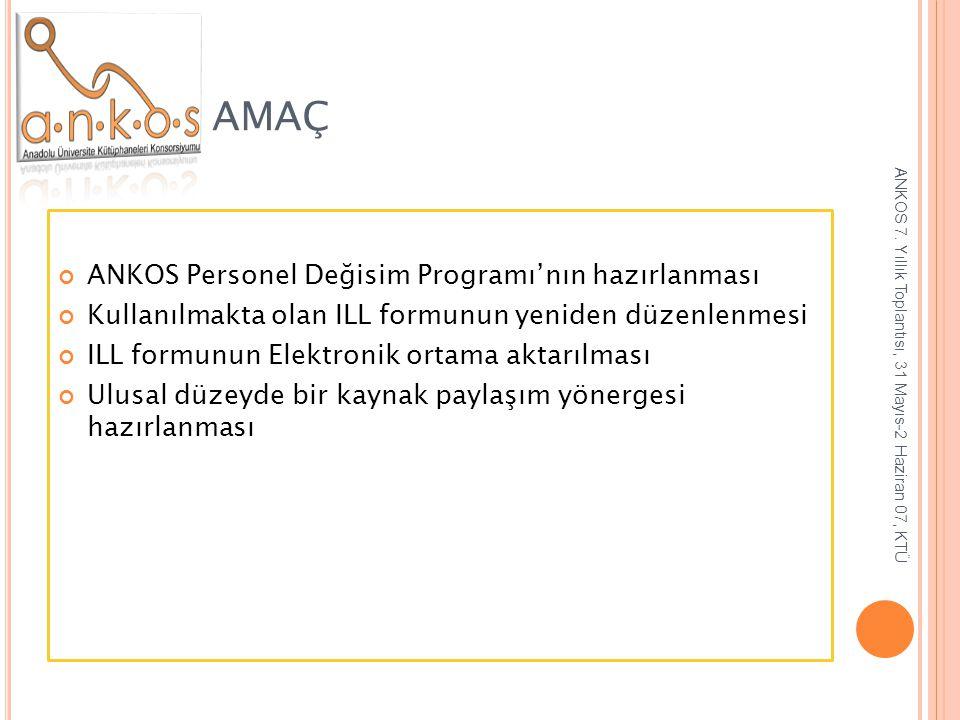 AMAÇ ANKOS Personel Değisim Programı'nın hazırlanması