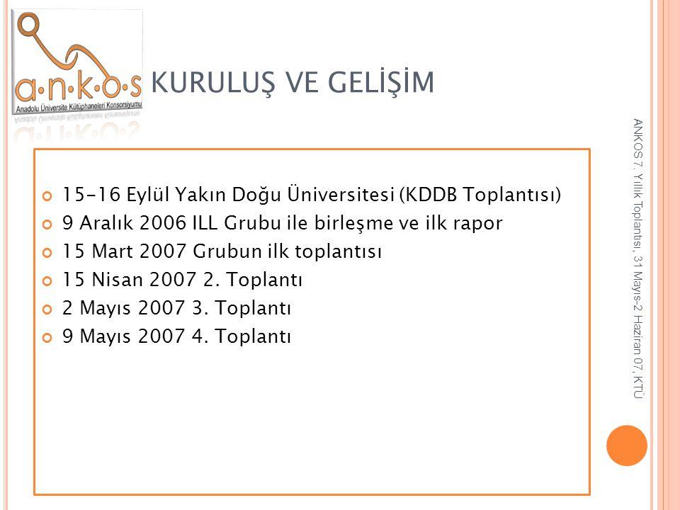 KURULUŞ VE GELİŞİM 15-16 Eylül Yakın Doğu Üniversitesi (KDDB Toplantısı) 9 Aralık 2006 ILL Grubu ile birleşme ve ilk rapor.