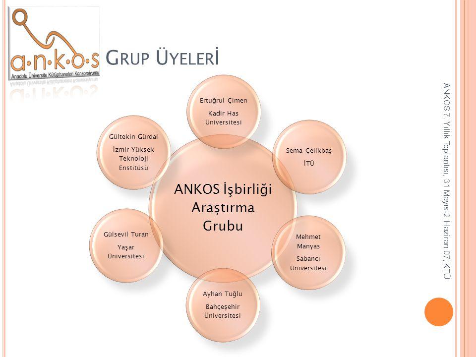 Grup Üyelerİ ANKOS İşbirliği Araştırma Grubu