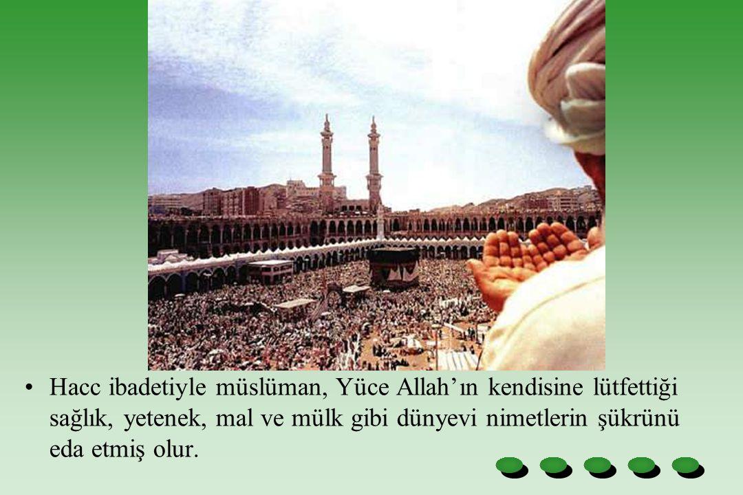 Hacc ibadetiyle müslüman, Yüce Allah'ın kendisine lütfettiği sağlık, yetenek, mal ve mülk gibi dünyevi nimetlerin şükrünü eda etmiş olur.