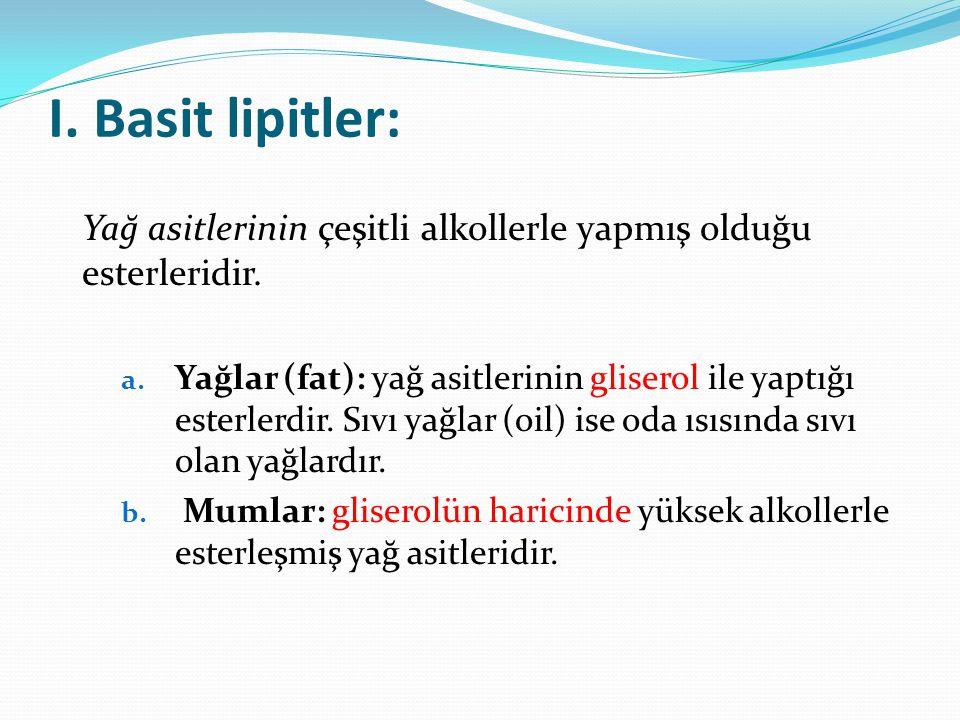 I. Basit lipitler: Yağ asitlerinin çeşitli alkollerle yapmış olduğu esterleridir.