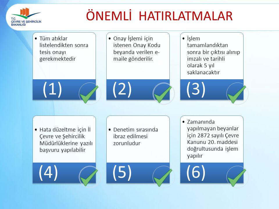 (1) (2) (3) (4) (5) (6) ÖNEMLİ HATIRLATMALAR