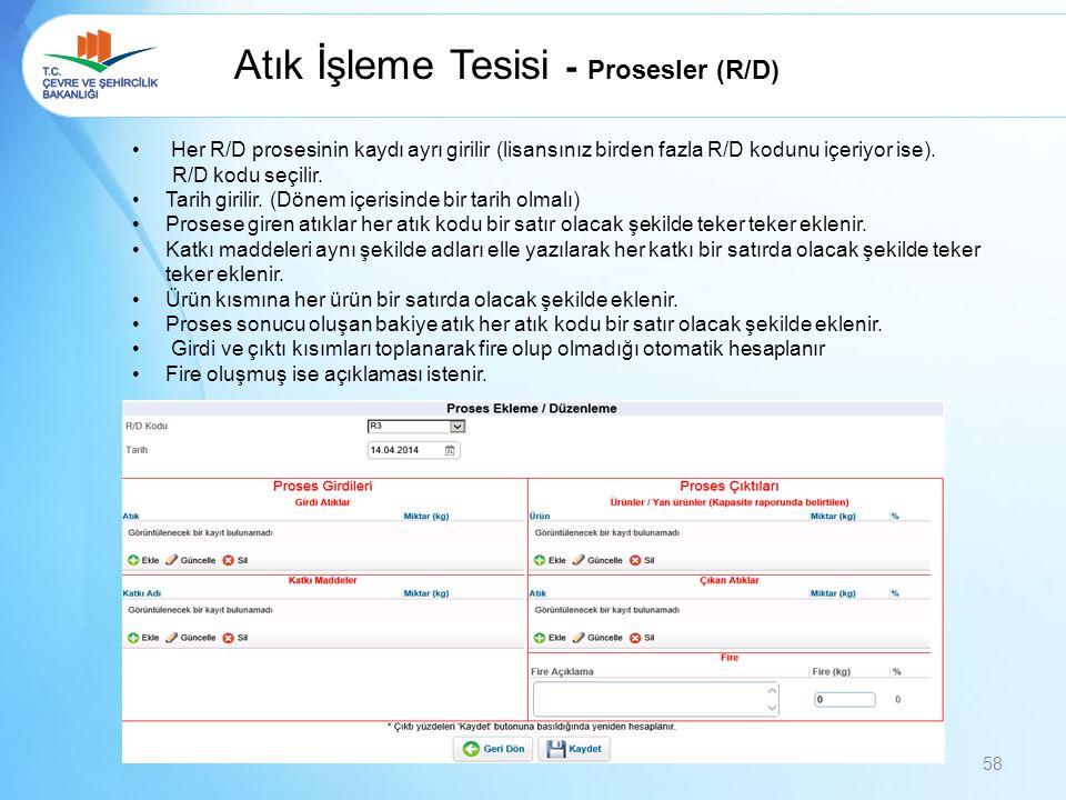 Atık İşleme Tesisi - Prosesler (R/D)