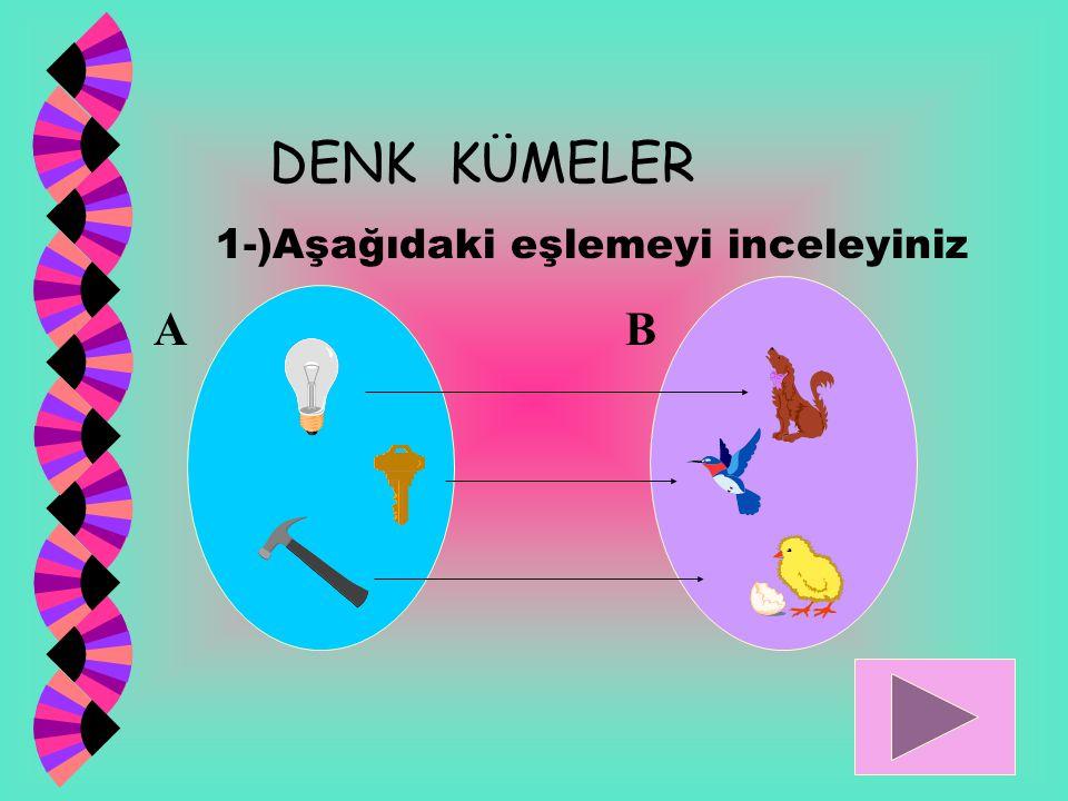 DENK KÜMELER 1-)Aşağıdaki eşlemeyi inceleyiniz A B